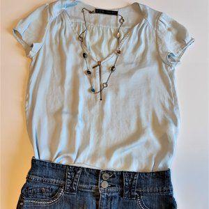 Zara Powder blue zip blouse